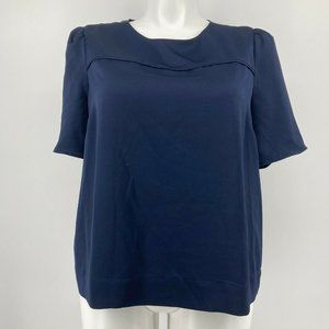 J. Crew 365 Womens Top Hammered Satin Blouse Navy